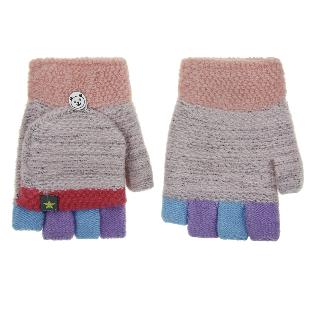Winter Handschuhe Kinder Halbe Fingerhandschuhe mit Flip Top Warm Wollmischung F/äustlinge f/ür Schreiben und Radsport