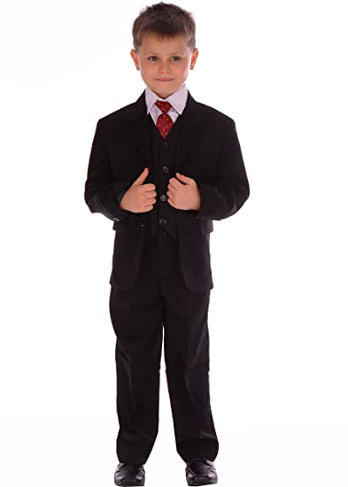 9d1b3d9d734a 5 Piece Boys Suits Smart Black Wedding Pageboy Formal Suit 0-3m to 14-15  Year  Amazon.co.uk  Clothing