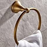 Leyden Towel Ring Antique Brass, Brass Round Hand Towel Holder for Bathroom Wall Mounted