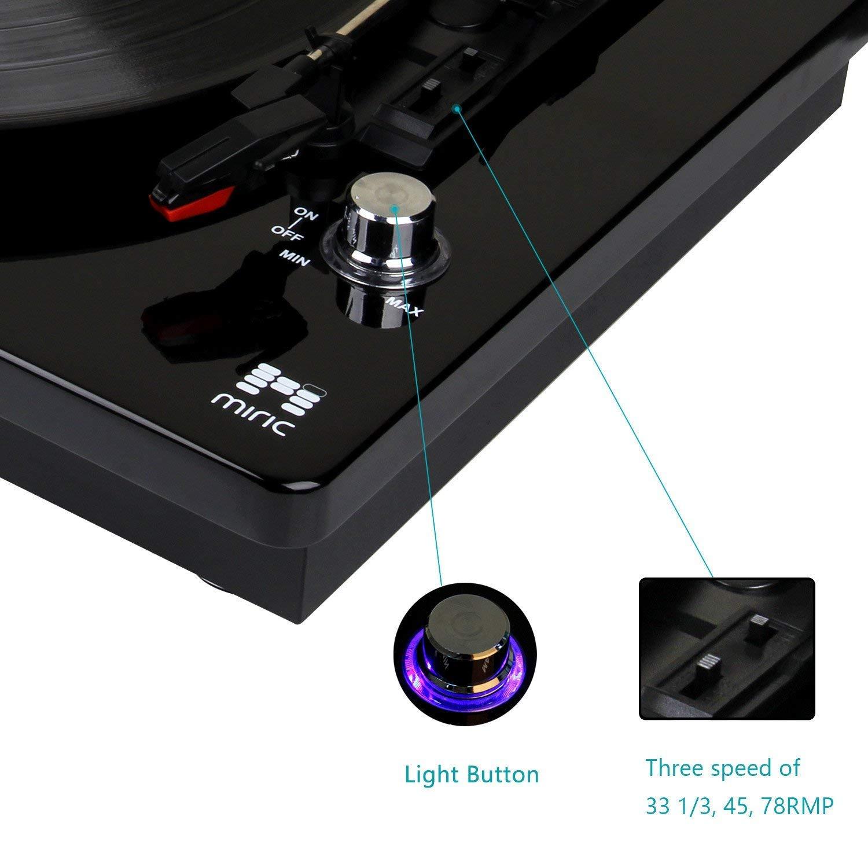 Amazon.com: Miric Turntable, reproductor de grabación de 3 ...