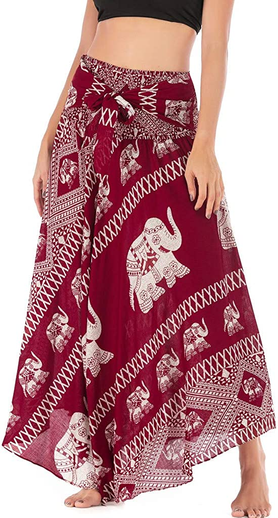 ZYUEER Donne Lungo Hippie Bohemian Gypsy Boho Fiori Elastico in Vita Gonna Floreale Halter Donna Lunga Dress