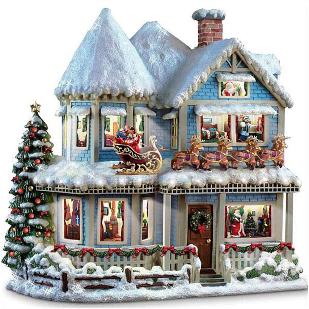 Diamond Embroidery Ankola Christmas Santa Claus Castle 5D DIY Diamond Painting Embroidery Round Diamond Home Decor Gift 30x30cm (30X30cm, Multicolor)