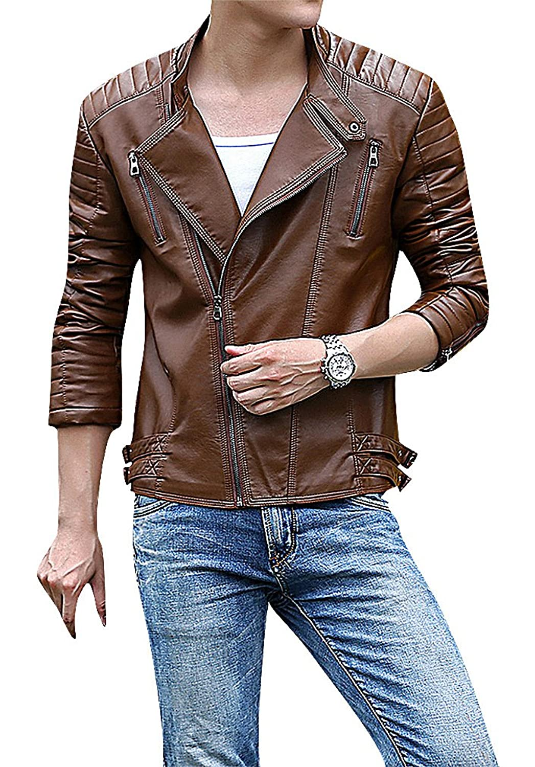 Men24 Men's 1 Color Seam Details Side Zipper Turndown Collar Fake Leather Jacket