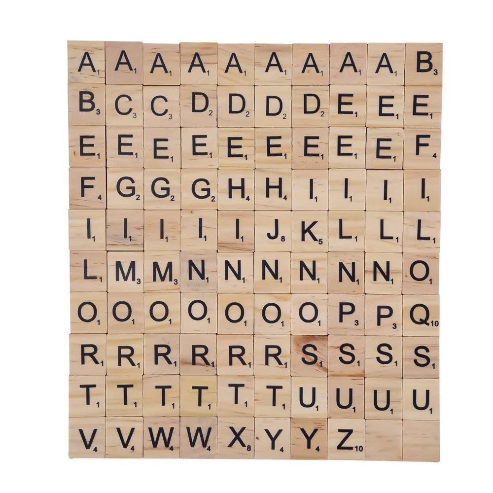 100 Pezzi Mattonelle Piastrelle della Lettere in Legno Liscio Legno Lettere Outus 100 wooden tiles