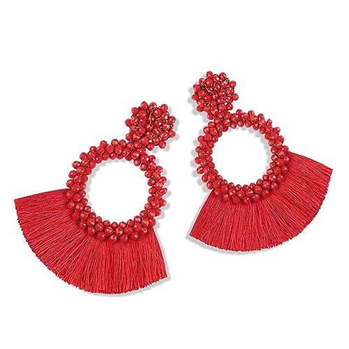 252269b02 Statement Tassel Bead Earrings for Women, Drop Dangle Round Beaded Hoop  Fringe Bohemian Earrings Women