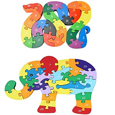 Animal Wooden Puzzle, Building Blocks Puzzles Alphabet Jigsaw Puzzle Preschool Learning Educational Toy Blocks Set Gifts - Snake & Elephant: Toys & Games