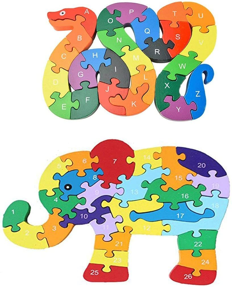 Animal Wooden Puzzle, Building Blocks Puzzles Alphabet Jigsaw Puzzle Preschool Learning Educational Toy Blocks Set Gifts - Snake & Elephant