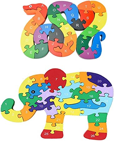 Organic Wooden puzzle Elephant family for Toddler Animal Puzzle Toys set Educational baby toys  Animals Figures