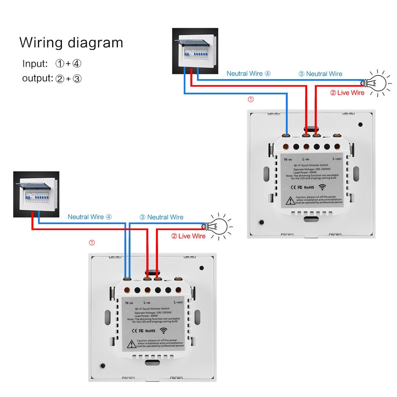 Timing Funktion Schwarz E27 Gl/ühlampe Intelligenter Wifi-Dimmschalter 300W stufenloser Wandschalter f/ür die Wandbedienung mit Alexa//Google Home APP Fernbedienung