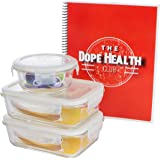 Glass Meal Prep Containers, (3 Pack) Glass Food Storage Containers With 2 Week Diet Program for Beginners, Large 35 Ounce Tupperware Set, Perfect for Meal Prep