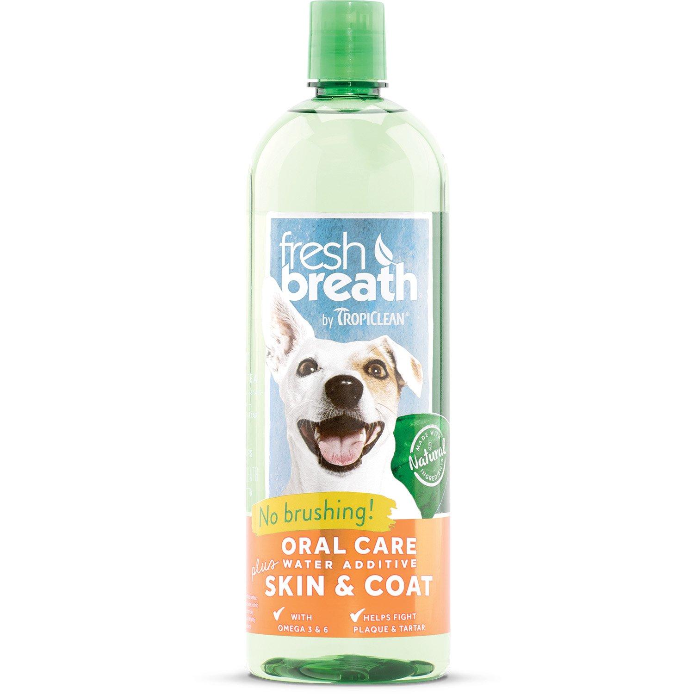 TropiClean Fresh Breath Oral Care Water Additive Plus Skin & Coat, 33.8oz