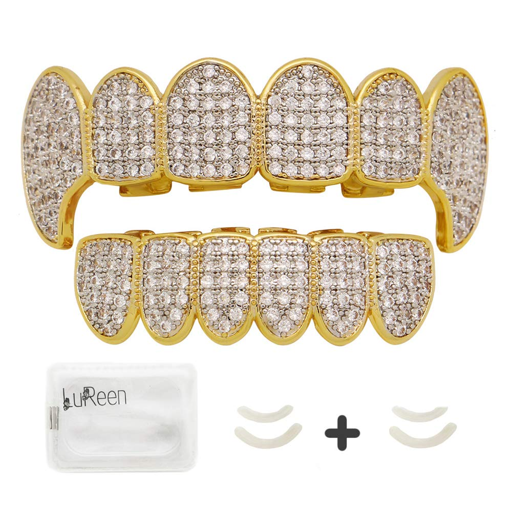 LuReen Gold Teeth Grillz Pave CZ Vampire Fangs Grillz for You Teeth with 4 Silicon Molding Bars(2 Extra) by LuReen