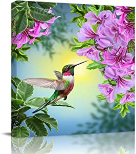 "Modern Giclee Canvas Prints Stretched Artwork Hummingbirds and Brilliant Flowers Pictures to Photo Paintings on Canvas Wall Art for Home Bedroom Office Decorations Wall Decor 16""x16"""