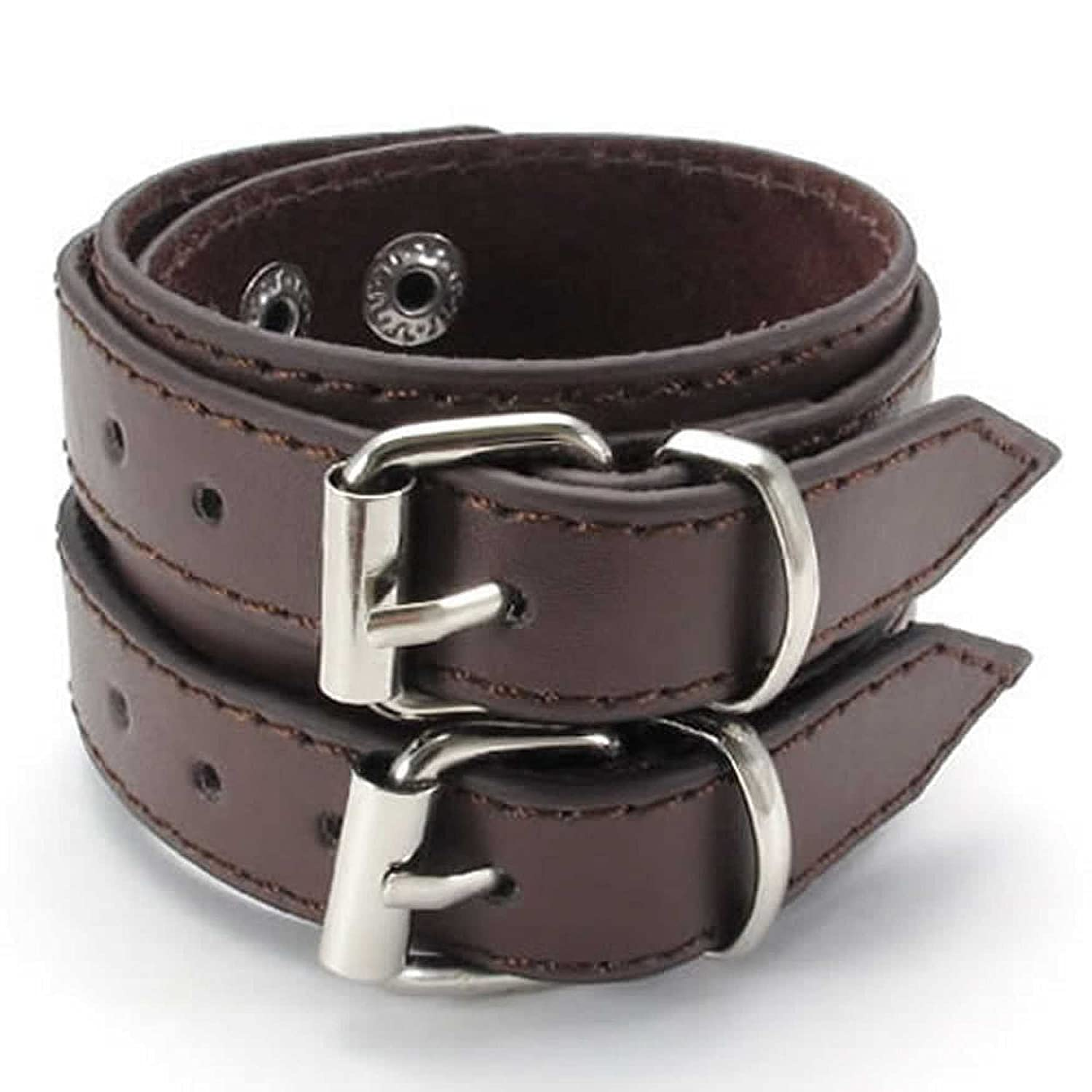 ANAZOZ Stainless Steel Rock 7.5-8.5 Cuff Bracelet Bangle Leather Wide Brown Mens Jewelry