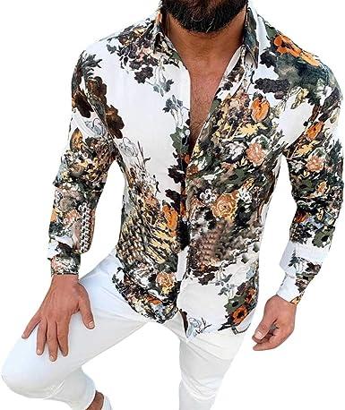 waotier Camisas Casual Camisa Hawaiana Hombre Casual Slim Fit Estampado Floral Camisas de Manga Larga Top Blusa: Amazon.es: Ropa y accesorios