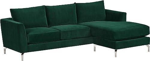 Amazon Brand Rivet Emerly Modern Sofa Chaise, 96 W, Emerald