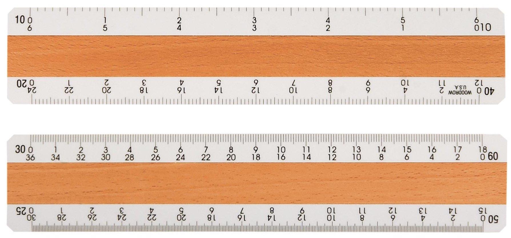 Woodrow 6'' Civil Engineering 4 Bevel Wood Ruler