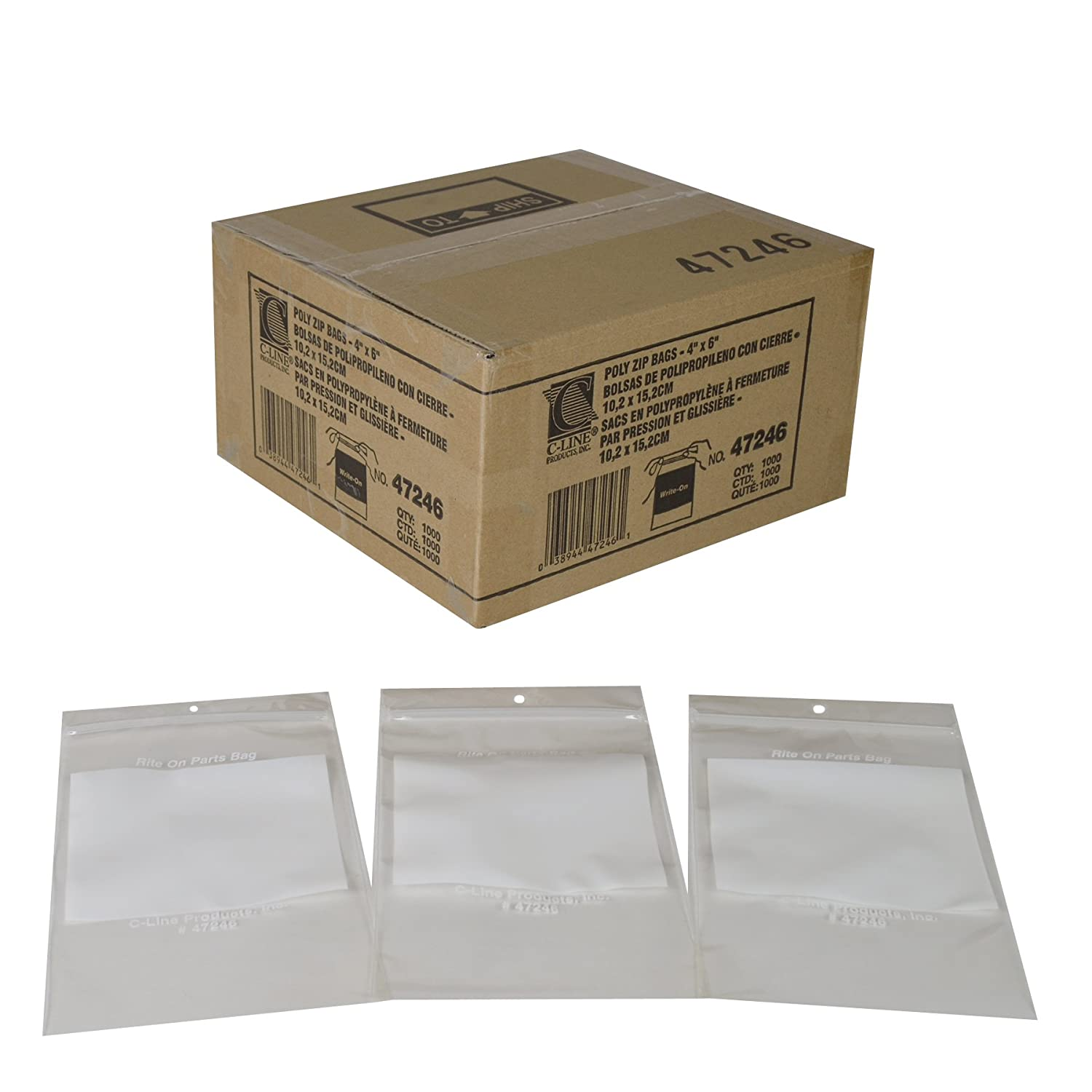 C-Line Write-On Reclosable Small Parts Storage Bags, 4 x 6 Inches, 1000 per Box (47246)