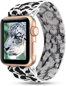 YOSWAN Stretchy Loop Strap Compatible for Apple Watch Band 40mm 38mm 44mm 42mm iWatch Series 6/5/4/3/2/1 Stretch Elastics Wristbelt (Snow Leopard, 38mm/40mm)