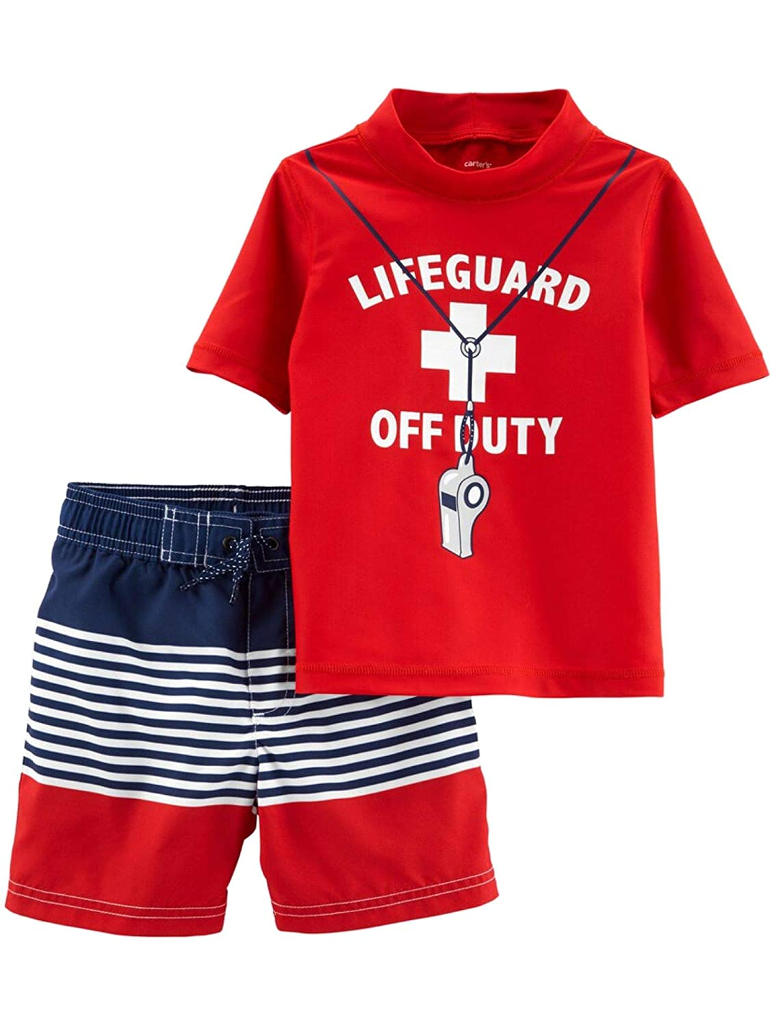 Carters Infant Boys Red Lifeguard Off Duty Rash Guard Shirt /& Swim Trunks