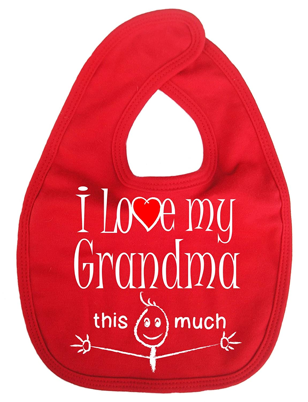 Dirty Fingers, I love my Grandma this much, Baby Unisex Bib, Red DFBIBgrandmamuchR