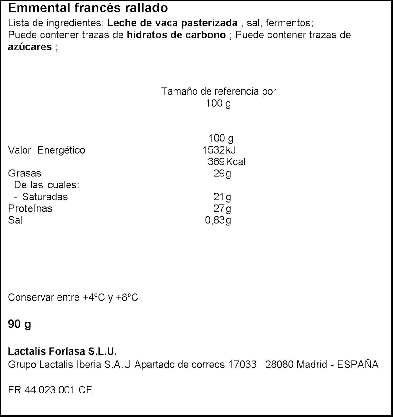 Président - Emmental Francés Rallado, Seleccionado, 90 g: Amazon.es: Alimentación y bebidas