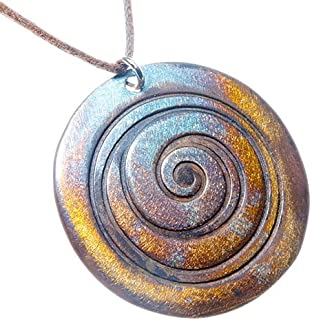product image for From War to Peace Spiral Iridescent Pendant Necklace on Adjustable Natural Fiber Cord