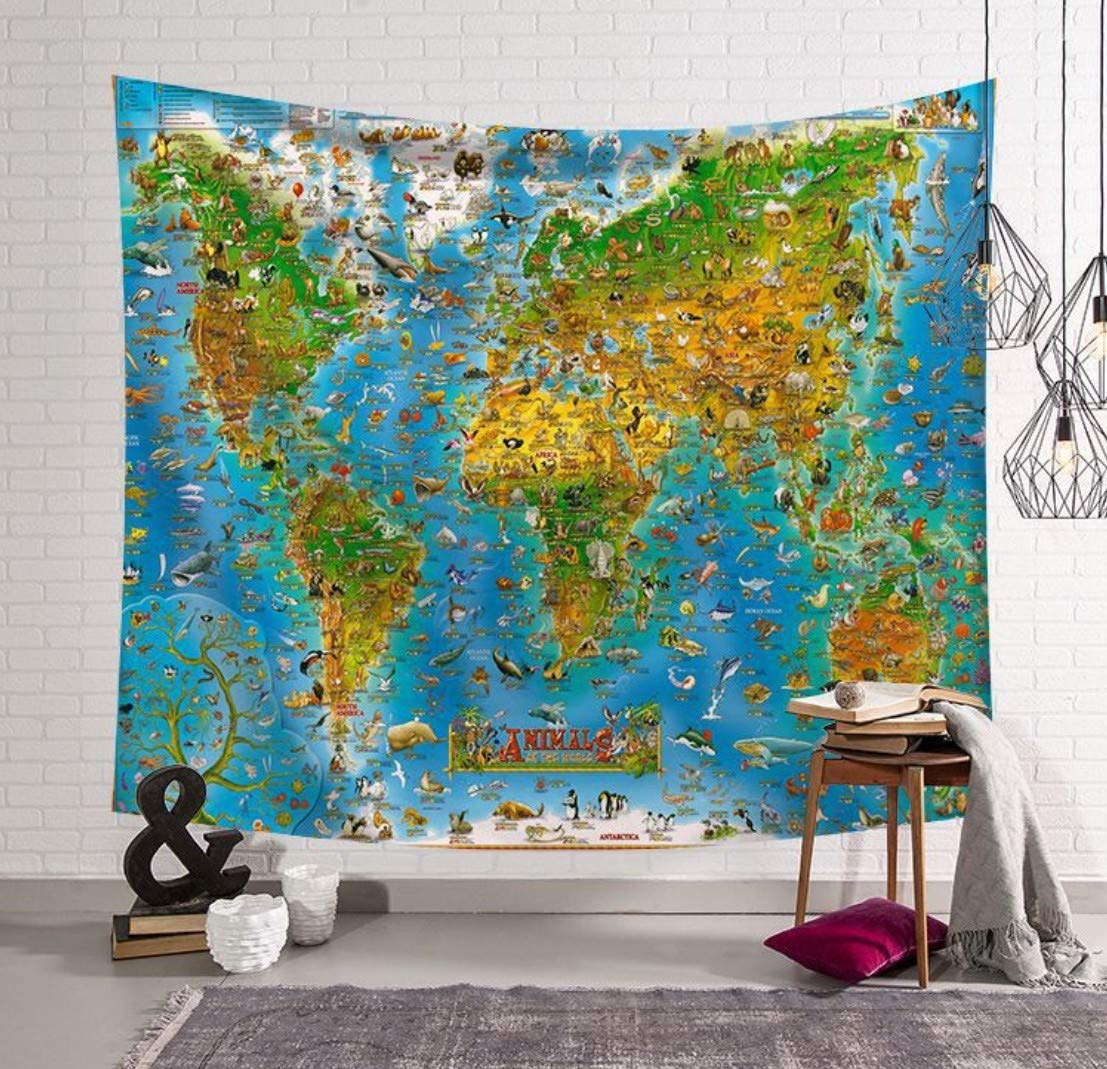 Homiest Animal Tapestry Wall Hanging Animal Map Tapestry Zoo Animal Wall Tapestry for Bedroom,Dorm Room,Living Room 51x59 Inches