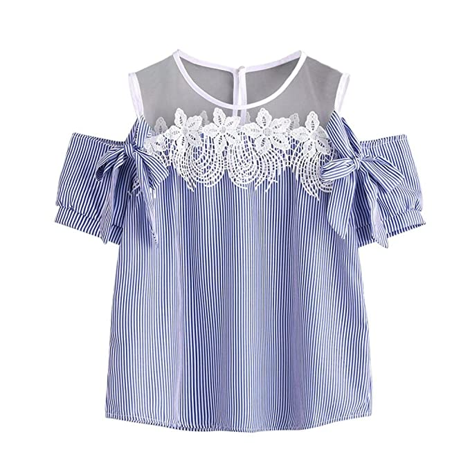 OverDose mujer camiseta atractivo sin hombros encaje rayad blusa tops (S, Azul)