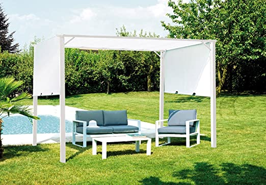 Provence Outillage-Pérgola de jardín hierro epóxico, color blanco ...