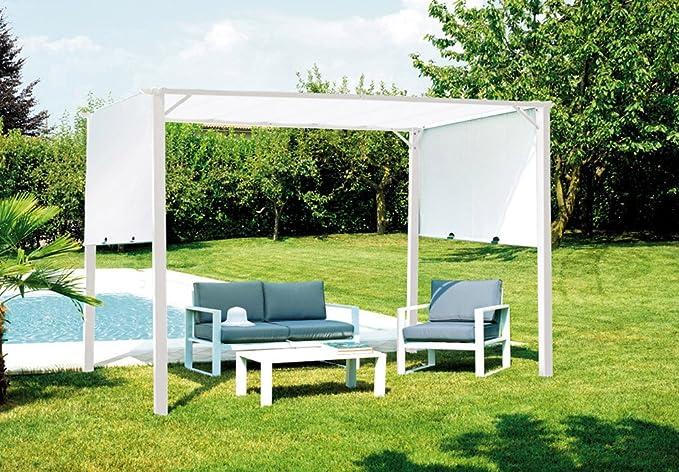 Provence Outillage-Pérgola de jardín hierro epóxico, color blanco y techo corredizo poliéster, blanco-Tamaño: 3,5 x 2,5 m-PEGANE-: Amazon.es: Hogar