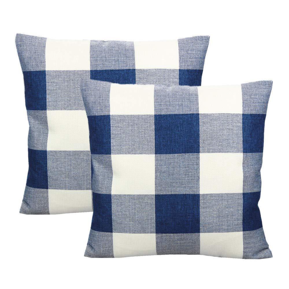 VAKADO Dark Blue and White Navy Buffalo Plaids Throw Pillow Covers Decorative Farmhouse Retro Check Cushion Cases Home Decor 18x18 Set of 2 for Couch Sofa Patio Outdoor