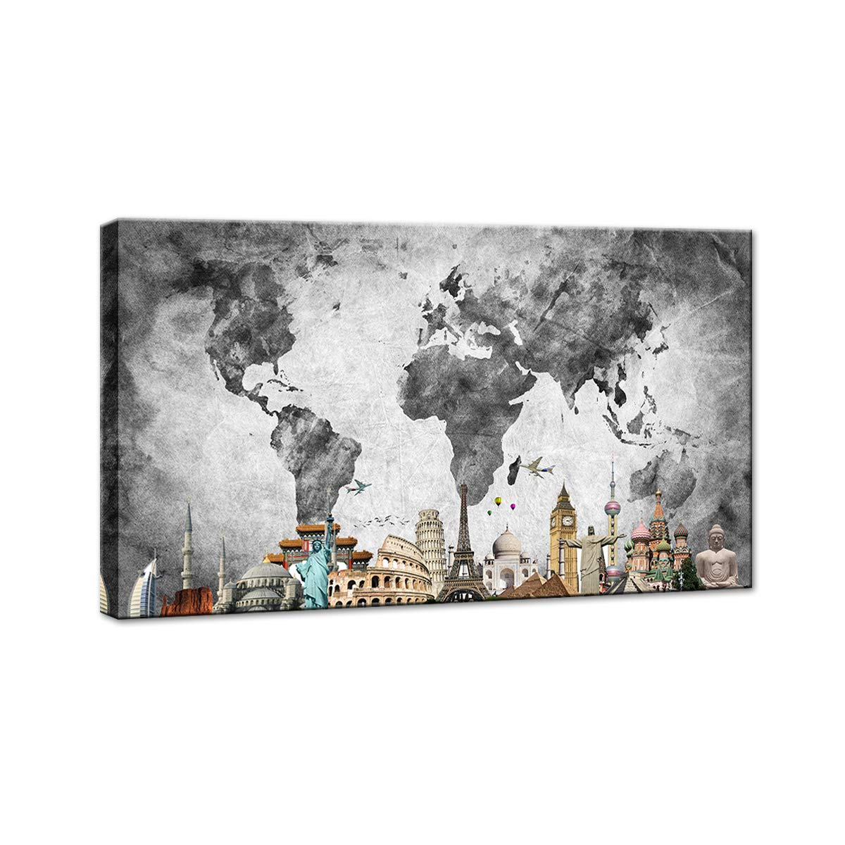 BIL-YOPIN Canvas Wall Art World Map and City 24x40in Wall Art Decor Painting Pictures Print On Canvas Long Canvas Artwork Prints for Home Living Room Bedroom Decoration Office Framed Ready to Hang