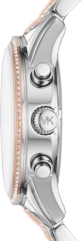 Michael Kors Orologio Cronografo Quarzo Donna con Cinturino in Acciaio Inossidabile Bicolore
