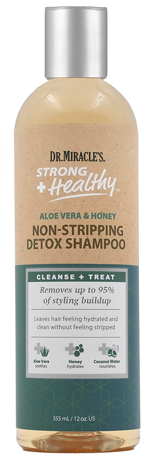 Dr. Miracle's Strong & Healthy Non Stripping Detox Shampoo. Contains Aloe Vera, Honey and Coconut Water to combat dryness, shedding and breakage to support healthy hair and a thriving scalp.