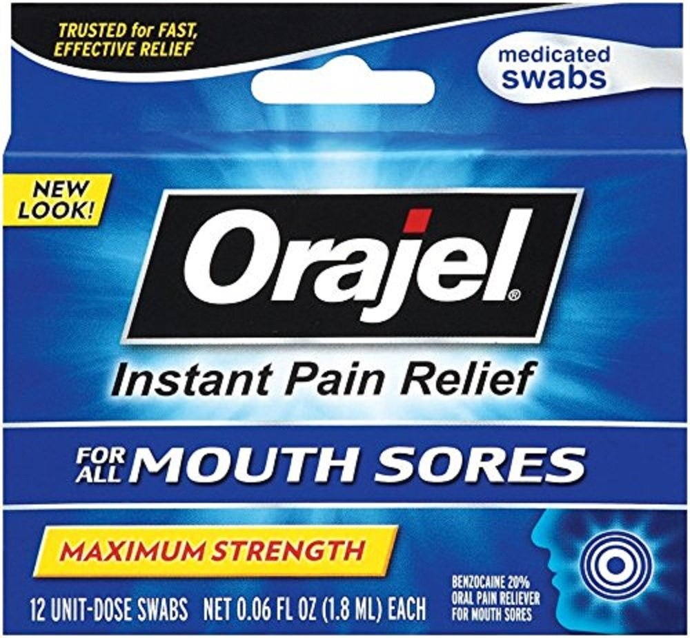 Orajel Mouth Sore Swabs, 12 Count Per Box (4 Boxes)