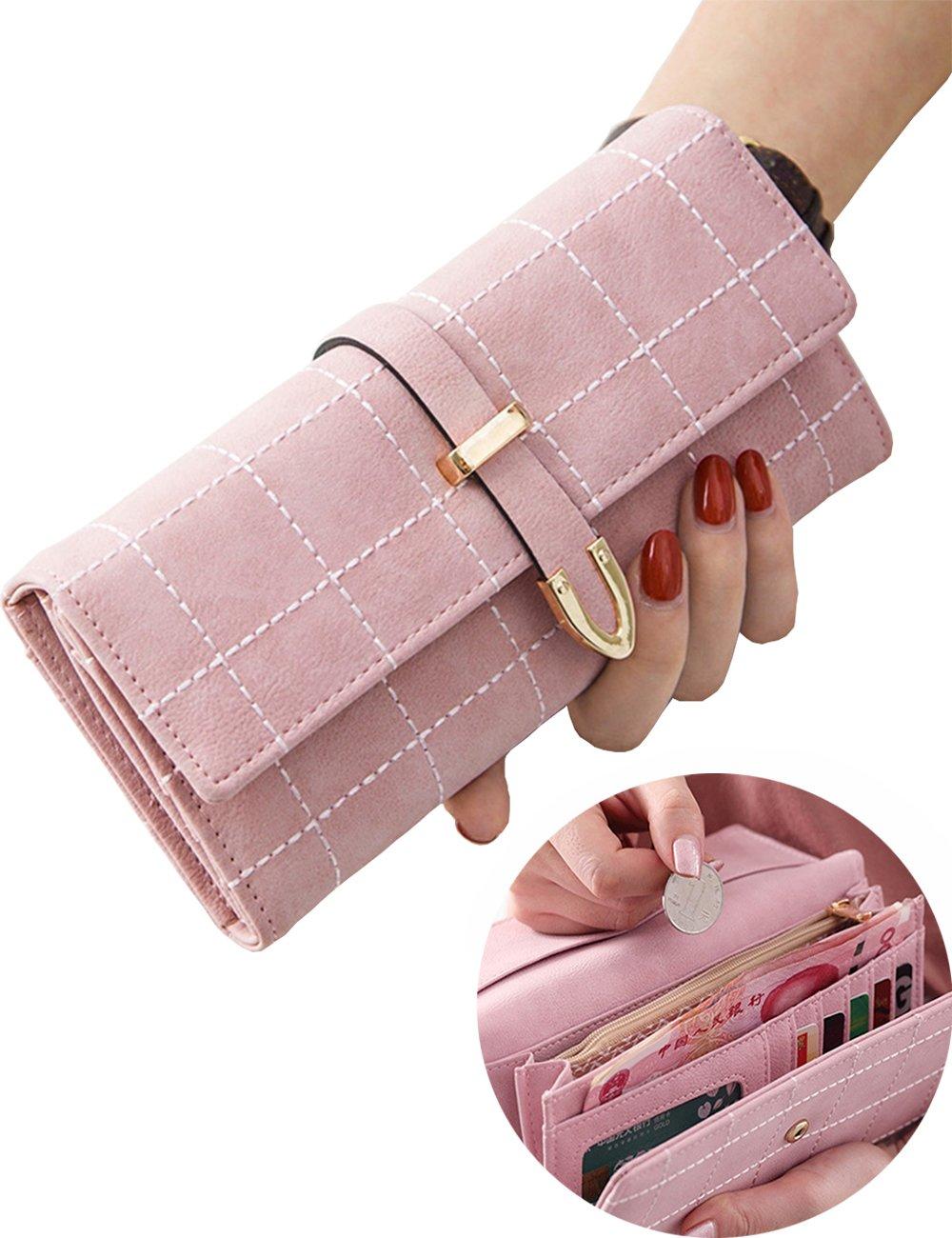 Women Wallet Clutch Grid Long Purse PU Leather Buckle Card Holder Travel Purse (Pink)