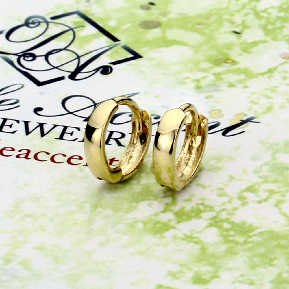 14K Yellow Gold Plain 2 X 6mm Domed Small Huggie Hoop Earrings by Double Accent (Image #2)