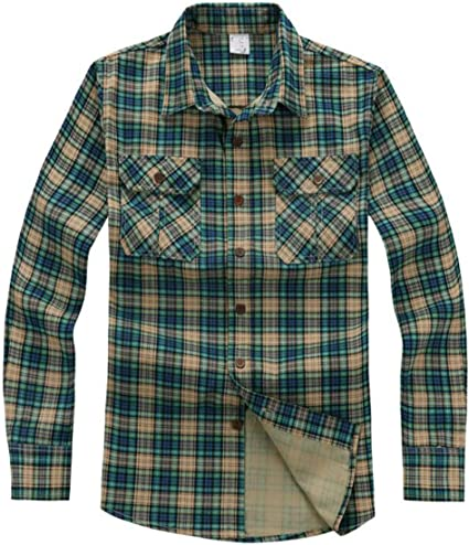 Hombres 100% De Algodón Camisa De Manga Larga Chaqueta Ocasional De La Tela Escocesa: Amazon.es: Ropa y accesorios