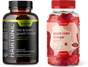 Hair Growth Supplement for Men + Apple Cider Vinegar ACV Gummies with The Mother