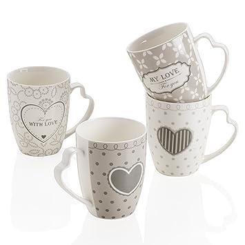 MONTEMAGGI My Love Taza Mug Porcelana Mango a corazón 4 DIS ...