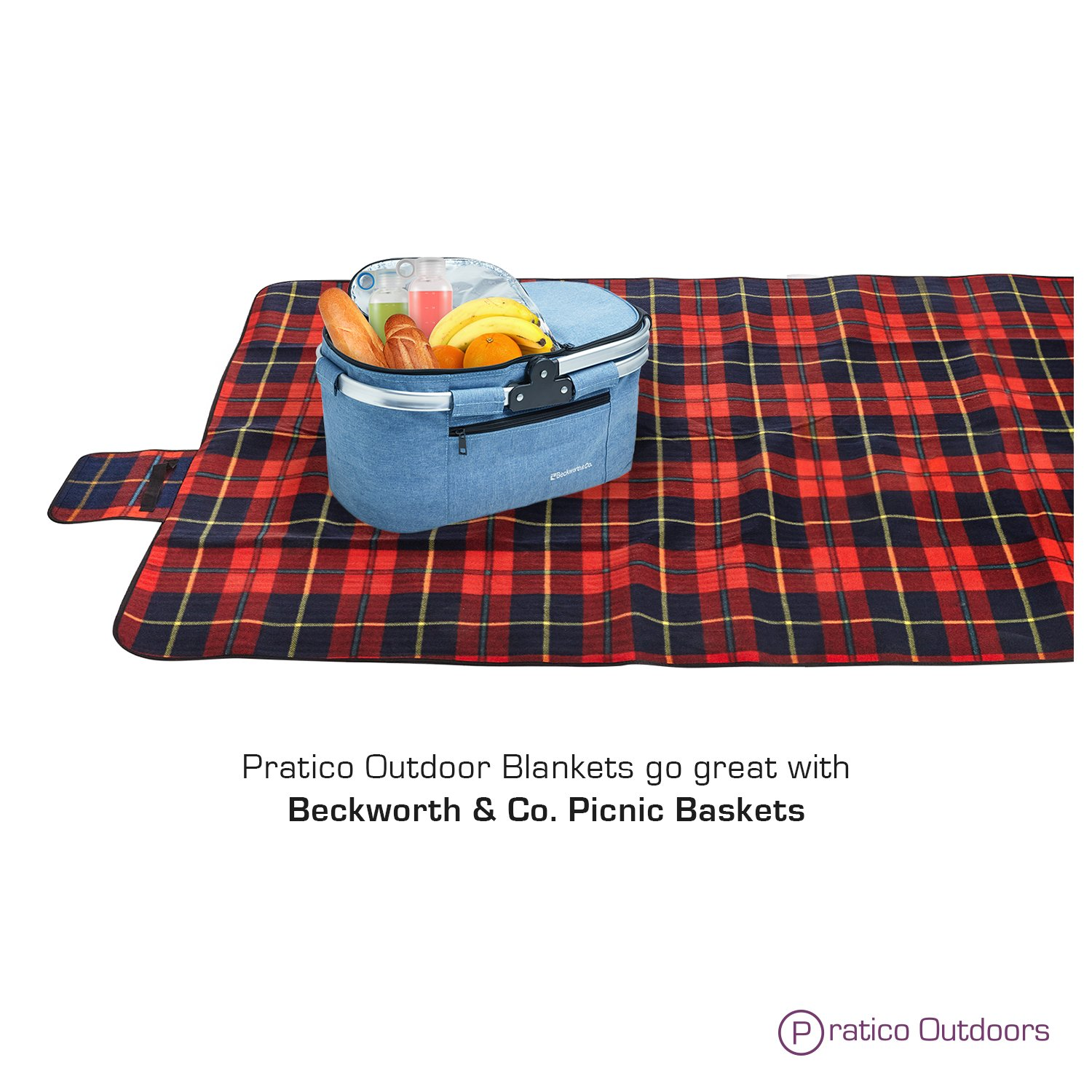 Extra Large Picnic /& Outdoor Beach Blanket with Water-Resistant Backing Red 60 x 80 inches Pratico Outdoors