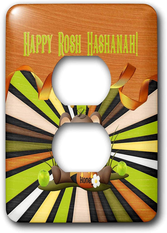 3dRose Beverly Turner Rosh Hashanah Design - Image of Rosh Hashanah, Bee Bear, Honey, Apples, Ribbon, and Stripes - 2 plug outlet cover (lsp_325237_6)