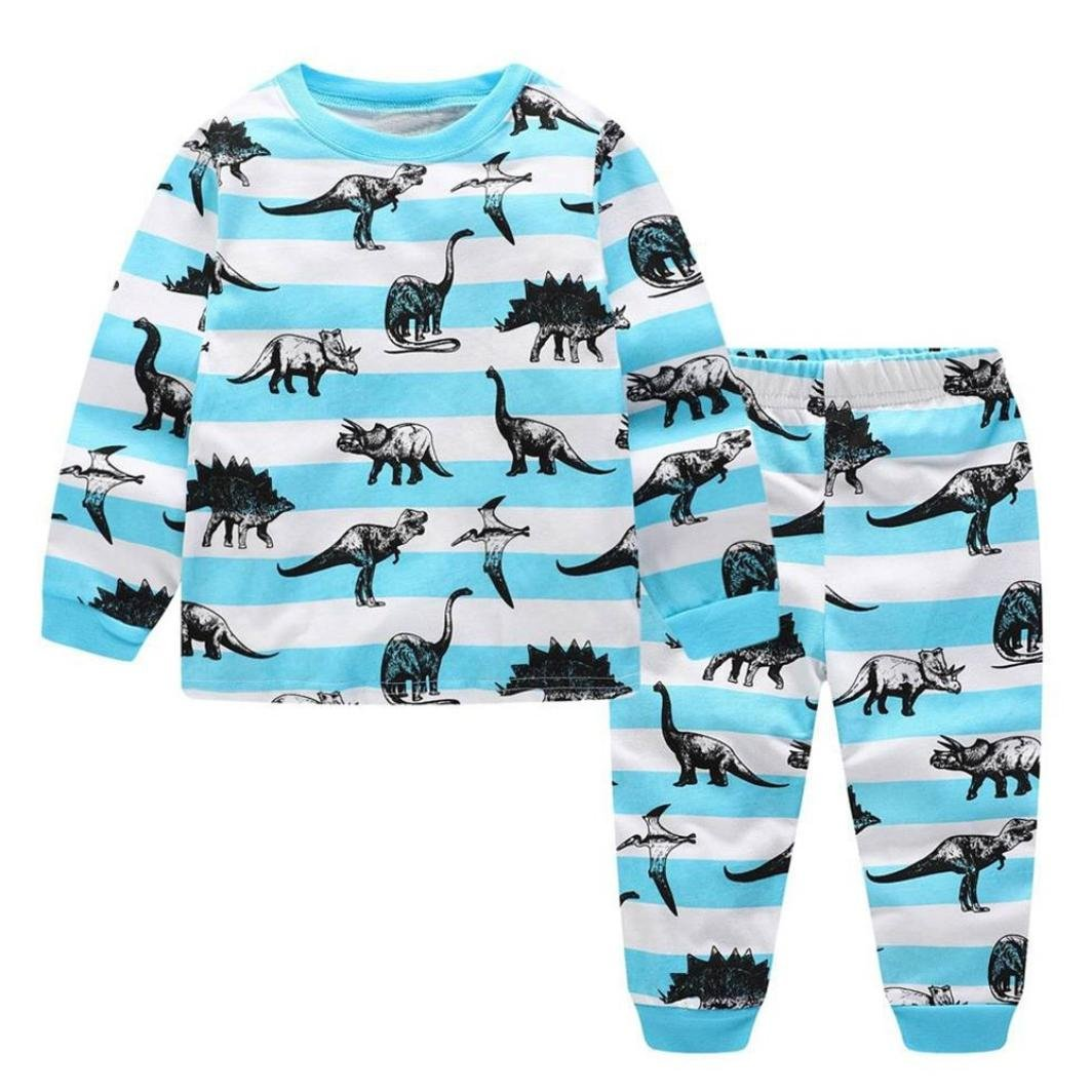 Little Kids Dinosaur Pajamas Sets,Jchen(TM) New Style! Toddler Baby Kids Boys Girls Dinosaur Print Long Sleeve Top+Pants Outfits for 2-7 Years Old (Age: 5 T)