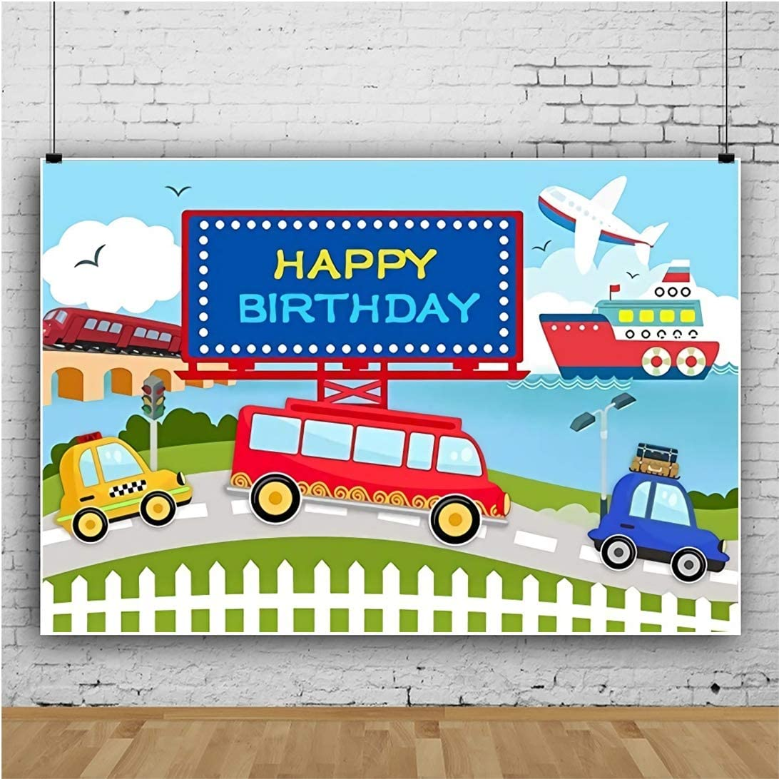 Yeele Cartoon Train Airplane Backdrop 10x8ft Birthday Party Photography Backdrop Dessert Table Kids Adults Artistic Portrait Kids Acting Show Photo Booth Photoshoot Props Wallpaper
