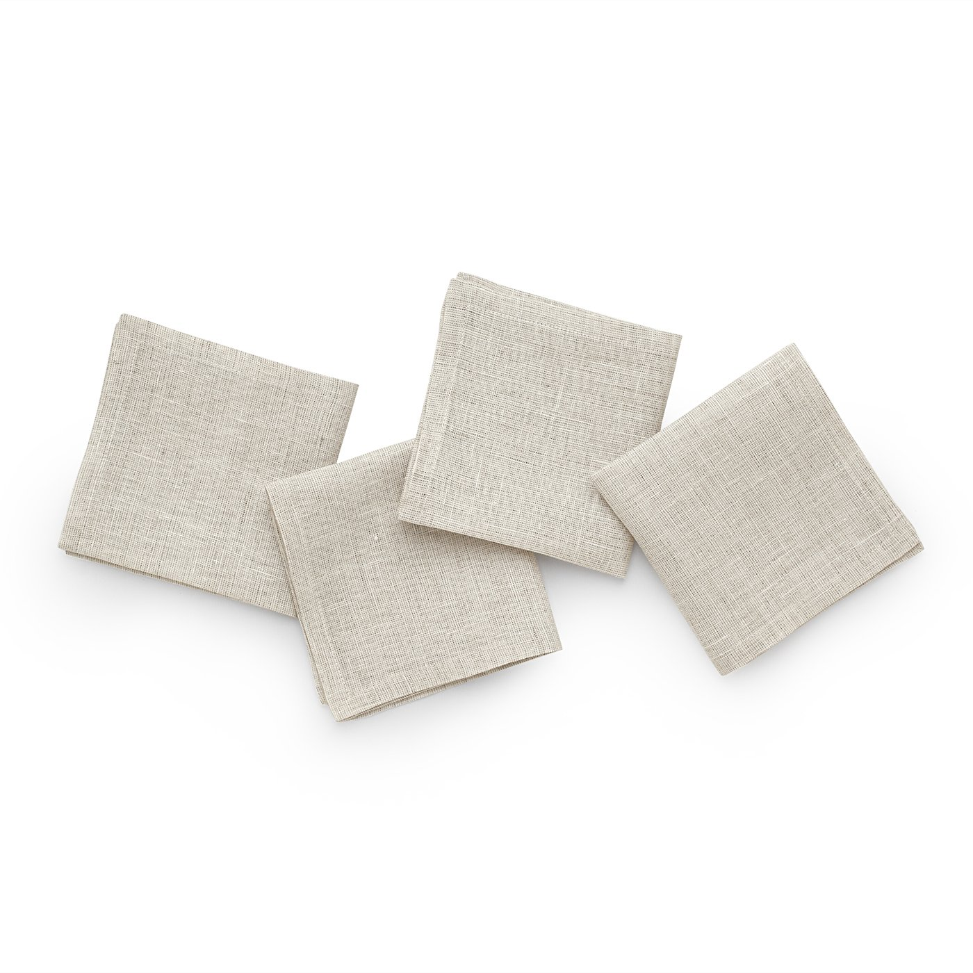 Solino Home Linen Cocktail Napkins - 9 x 9 Inch White Ash, 4 Pack Pure Linen Napkins, Bella - 100% European Flax - Soft and Handcrafted with Mitered Corners