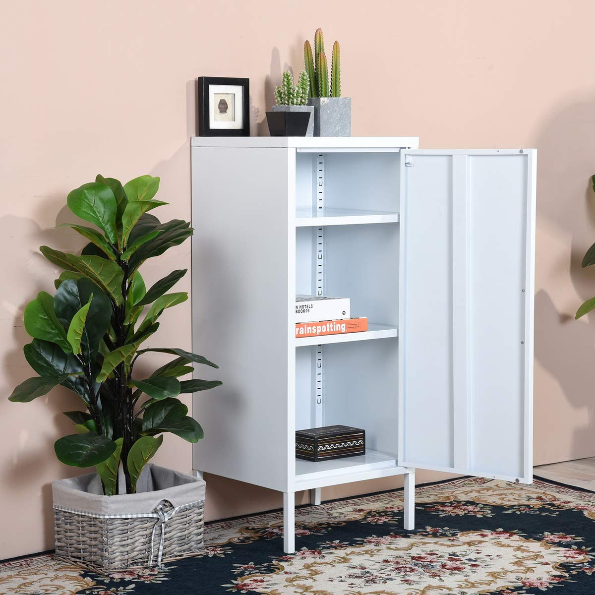 FurnitureR Storage Cabinets Floor Cabinet with Single Doors and Shelves Metal Organizer Unit Free Standing Collection 3 Tier Printing in White for Bathroom Living Room Home Office by FurnitureR