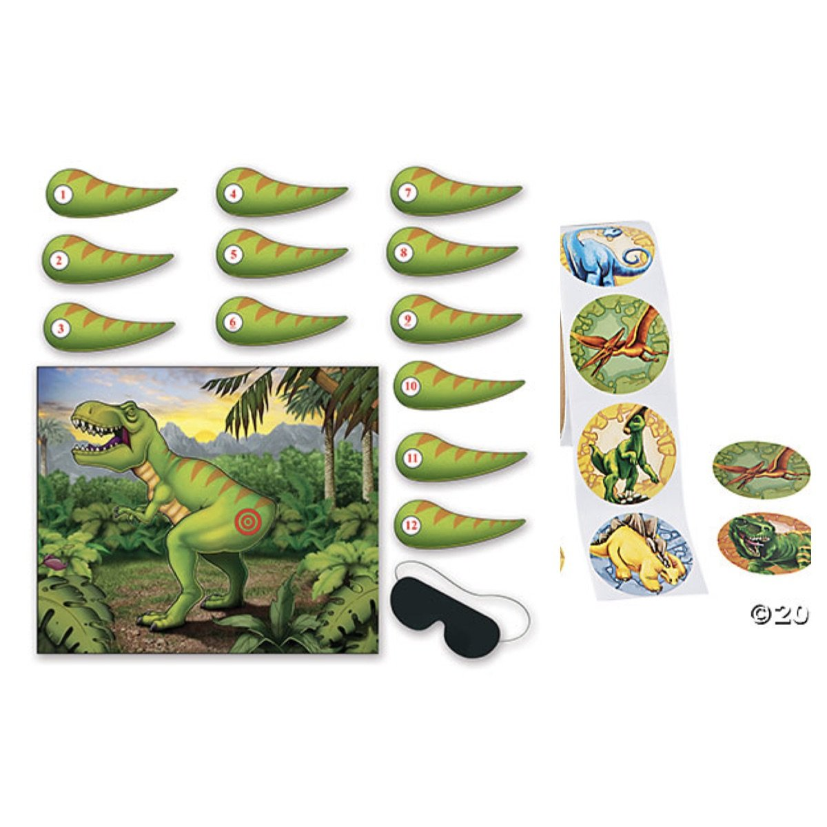 Pin the Tail on the DINOSAUR - Birthday PARTY GAME - Plus 24 DINO Stickers - CLASSROOM Parties Activity DAYCARE After School Programs TEACHERS JURASSIC Era PREHISTORIC T-REX