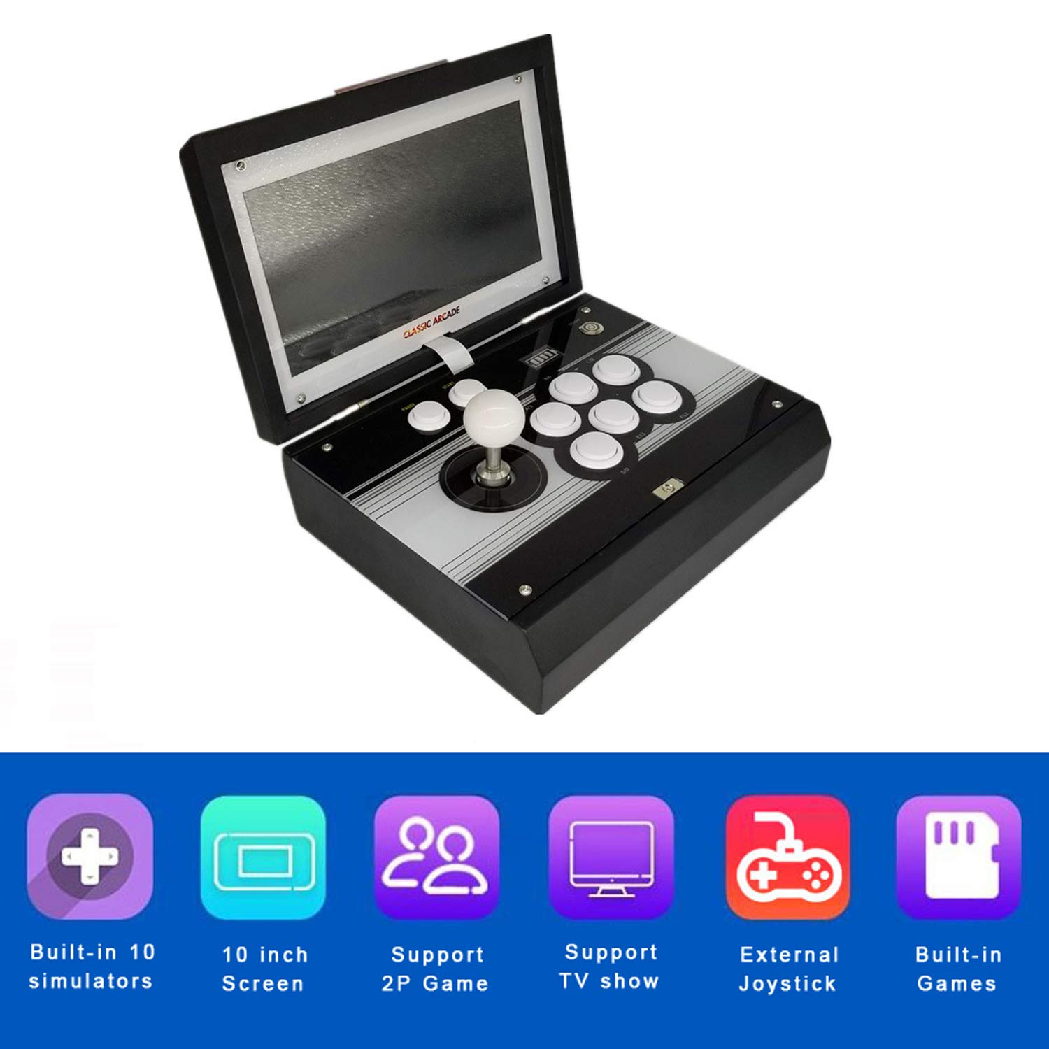 10.1 inch Portable Metal Casing Pandora 9 Arcade Video Game Console 1500 in 1 Retro Games Arcade 1280x720P HD Home Flip Single Player Game Machine