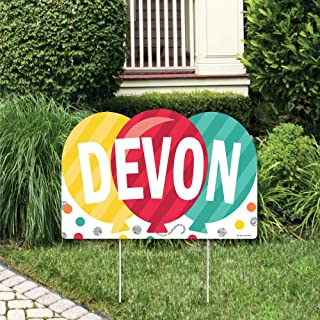 product image for Big Dot of Happiness Personalized Colorful Happy Birthday - Lawn Party Decorations - Custom Birthday Party Name Yard Sign